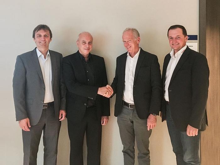 De izda. a dcha. Andreas Penz (Director General de Trotec), Carlos A. Rallo Querol (Director General Trotec España), Michael Peduzzi (CEO del grupo Trodat Trotec), Christian Spicker (Director General de Trotec)